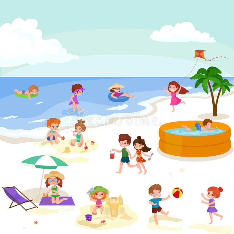Children Summer Vacation. Kids Playing Sand Around Water On Beach ...