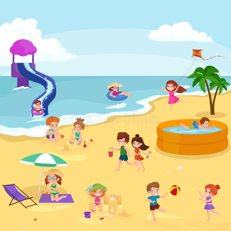 Children summer vacation. Kids Playing sand around water on beach stock illustration