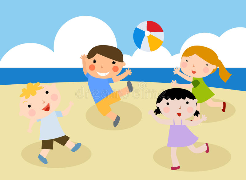 Download Children On The Sunny Beach. Stock Vector - Image: 14782373