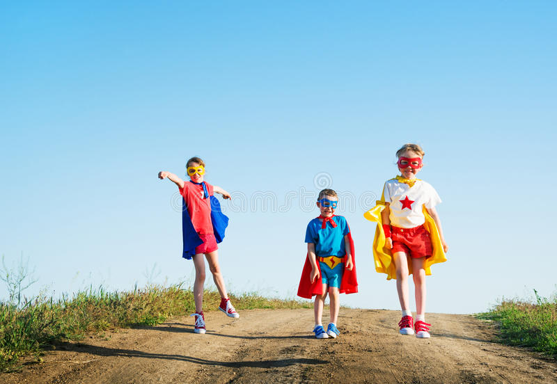 Children super hero royalty free stock images