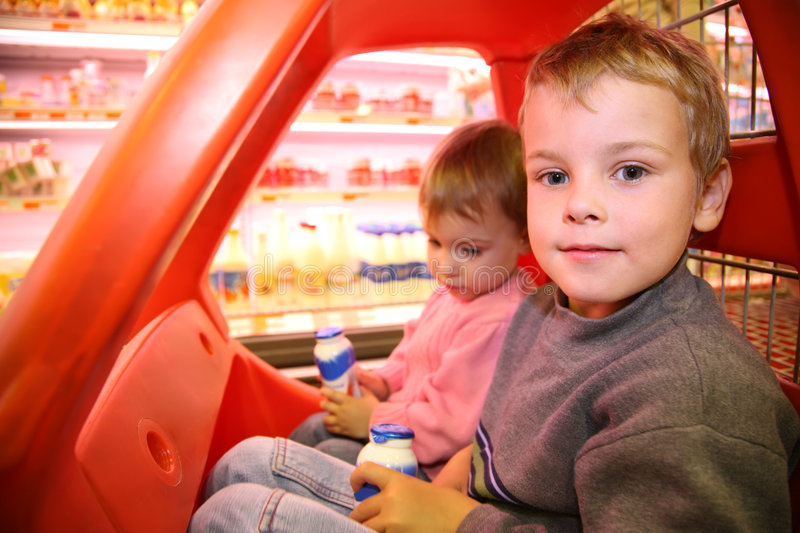 Download Children In The Supermarket Stock Photo - Image: 2792892