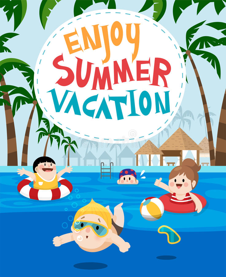 Download Children Swimming In A Resort For Summer Vacation Stock Illustration