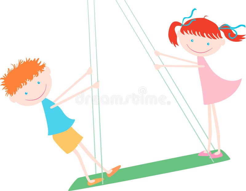 Children on a swing. Ðœector image of two kids riding a swing stock illustration