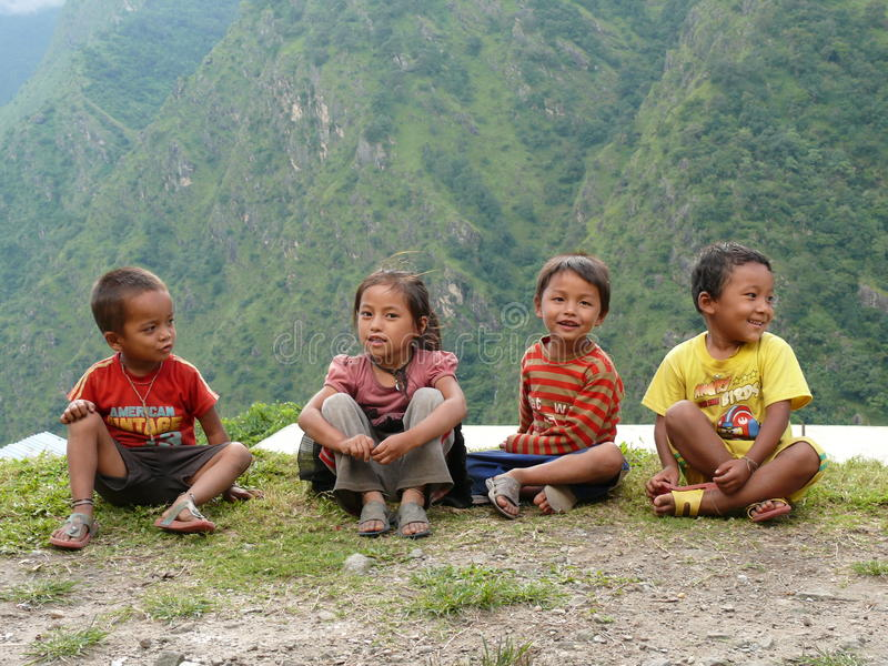 Children from Tallo Chipla - Nepal stock photos