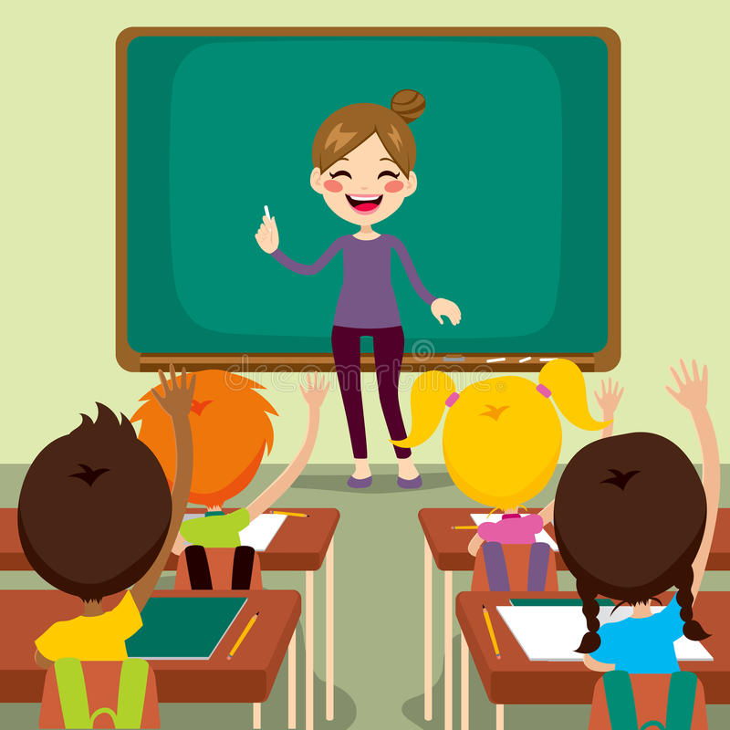 Children And Teacher On Classroom. Beautiful happy young teacher woman standing teaching in front children raising hands up sitting in classroom