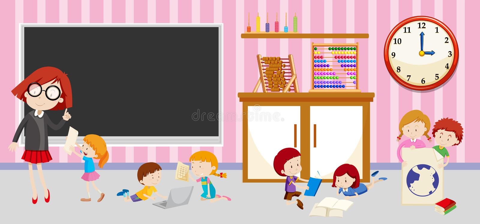 Children and teacher in classroom vector illustration
