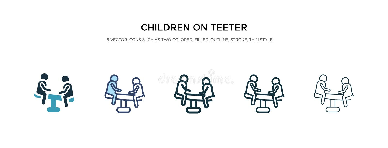 Children on teeter totter icon in different style vector illustration. two colored and black children on teeter totter vector stock illustration