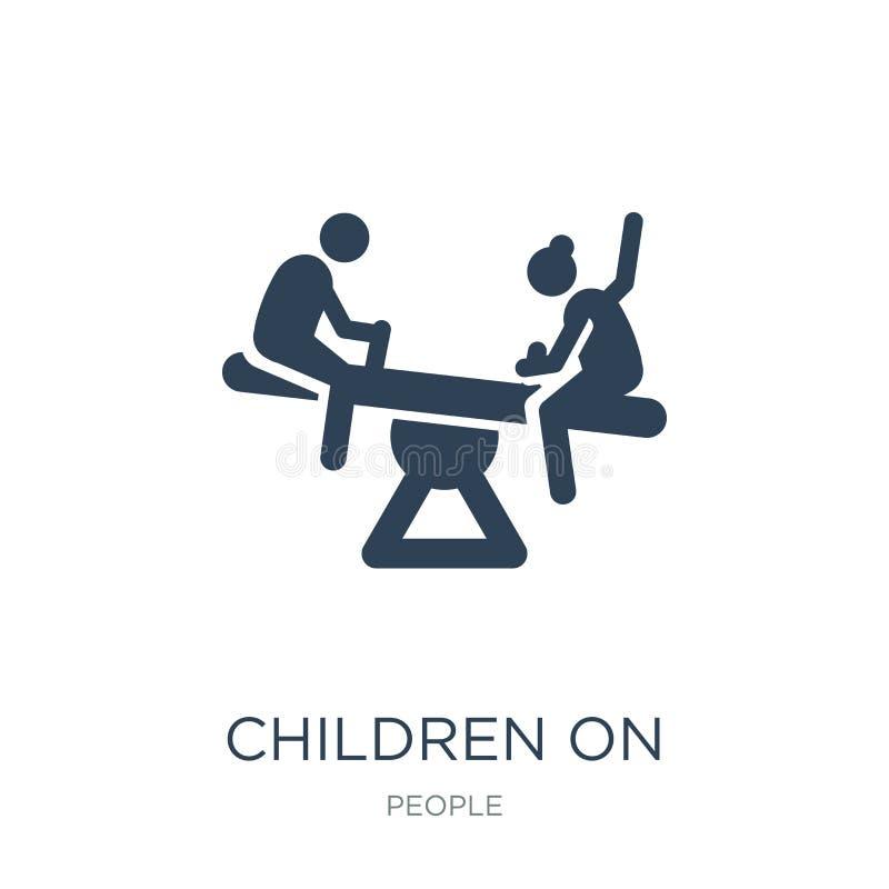 children on teeter totter icon in trendy design style. children on teeter totter icon isolated on white background. children on royalty free illustration