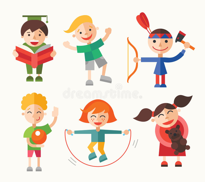 Children and their hobbies - flat design characters set stock illustration