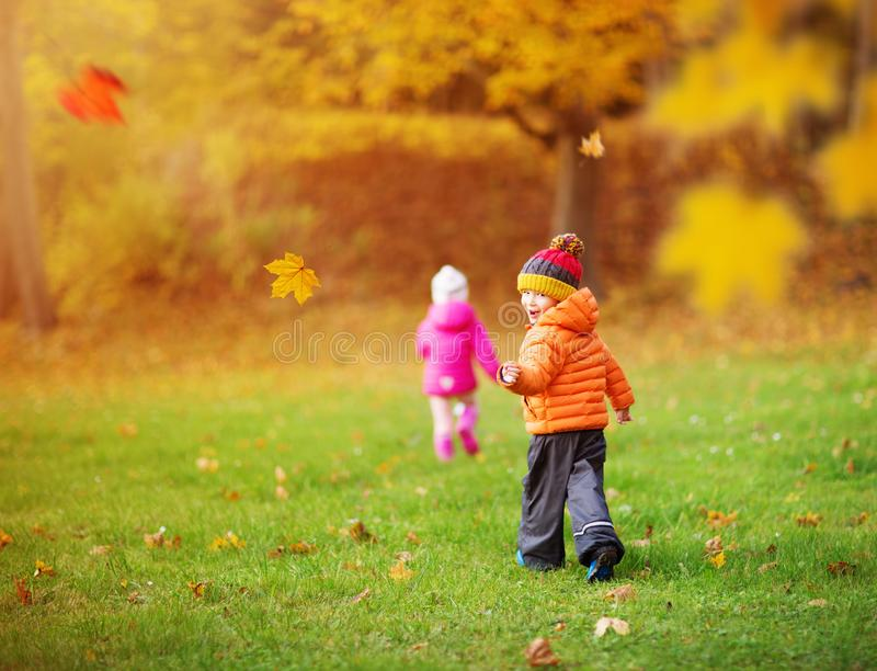 Children throwing leaves in beautiful autumnal day royalty free stock image