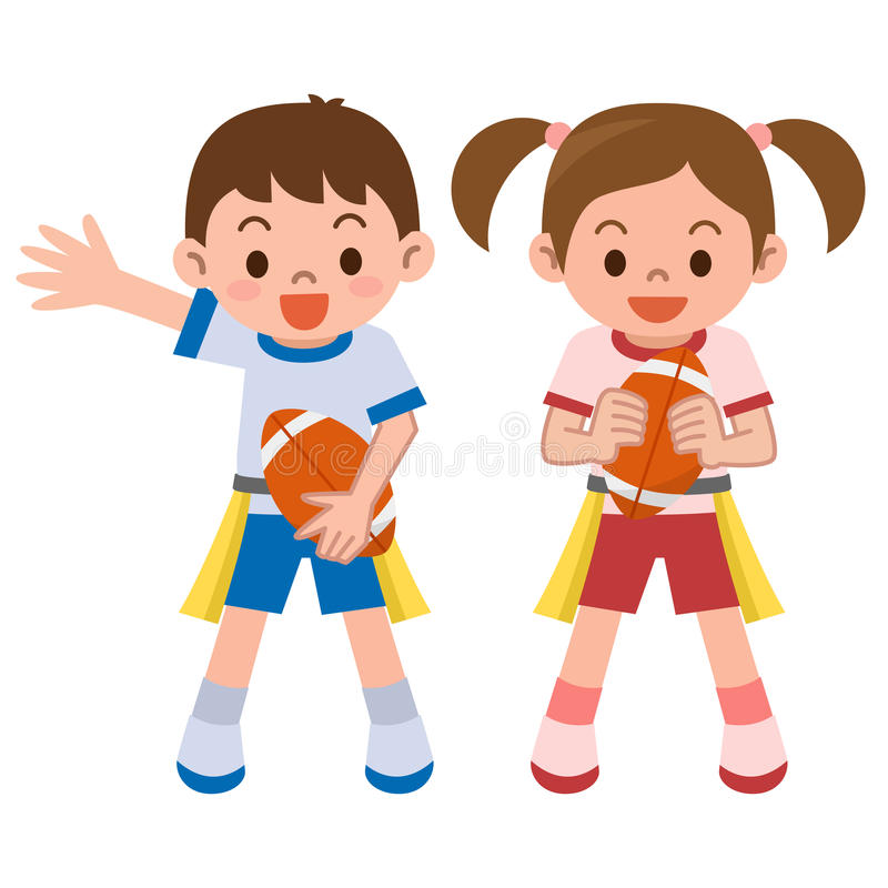 Children to the tag rugby vector illustration