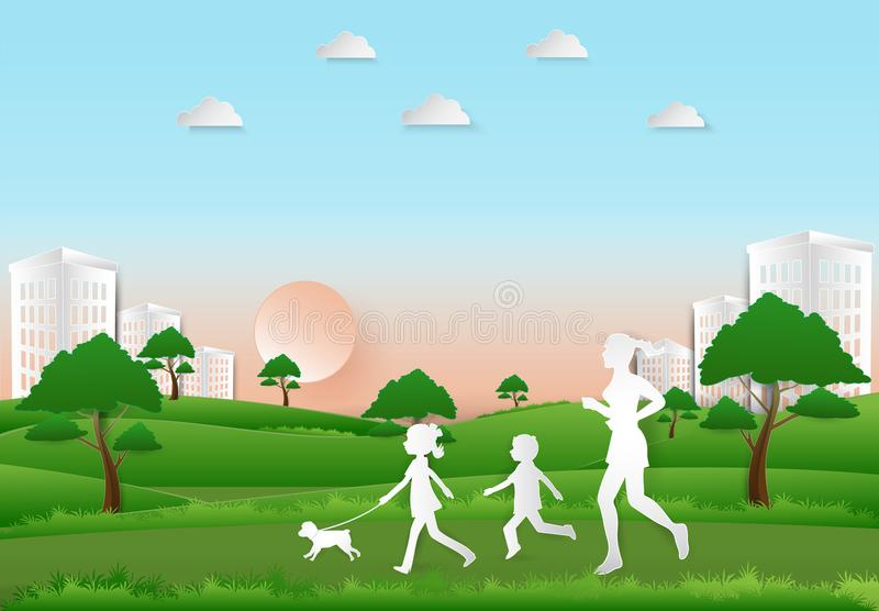 Children to take a dog for a walk and Woman jogging, Paper art, stock illustration