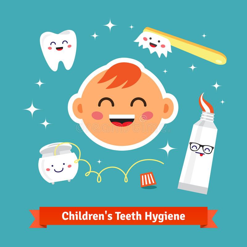 Children tooth hygiene icon set. Happy baby with healthy teeth, dental floss, toothpaste and toothbrush. Flat style cartoon vector icons vector illustration
