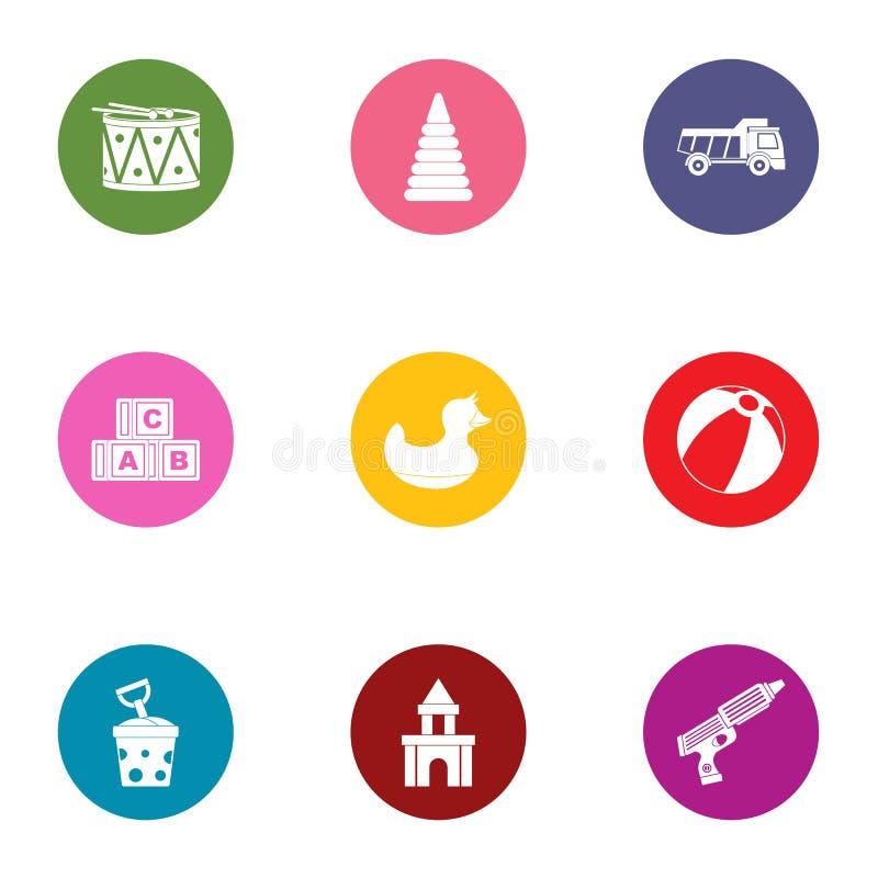Children toy icons set, flat style. Children toy icons set. Flat set of 9 children toy vector icons for web isolated on white background stock illustration