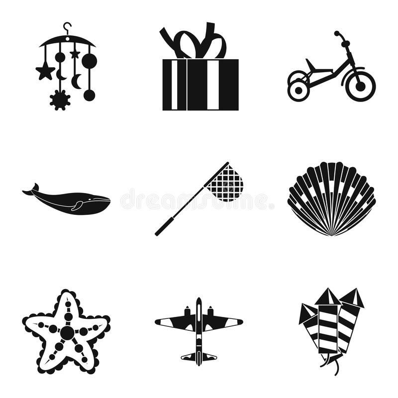 Children toy icons set, simple style. Children toy icons set. Simple set of 9 children toy vector icons for web isolated on white background vector illustration