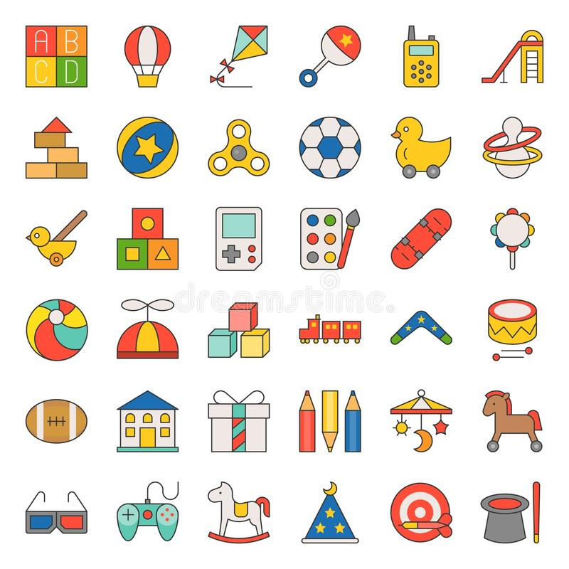 Children toy filled outline icon set vector illustration