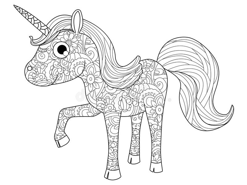 Children Toy unicorn coloring vector for adults. Children Toy unicorn coloring book for adults vector illustration. Anti-stress coloring for adult pony royalty free illustration