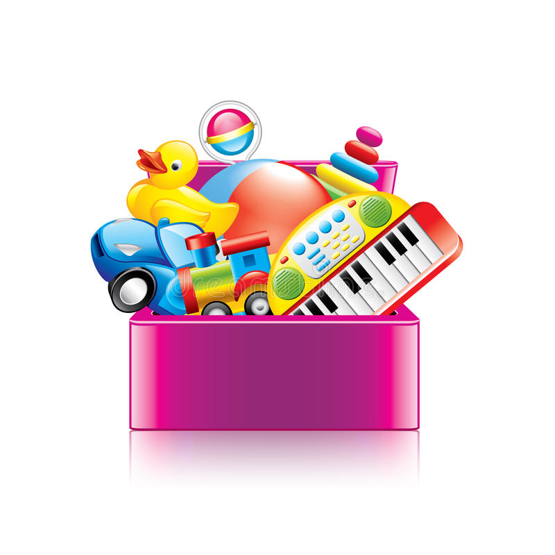 Toy Box Clip Art : Children toys box on white vector stock