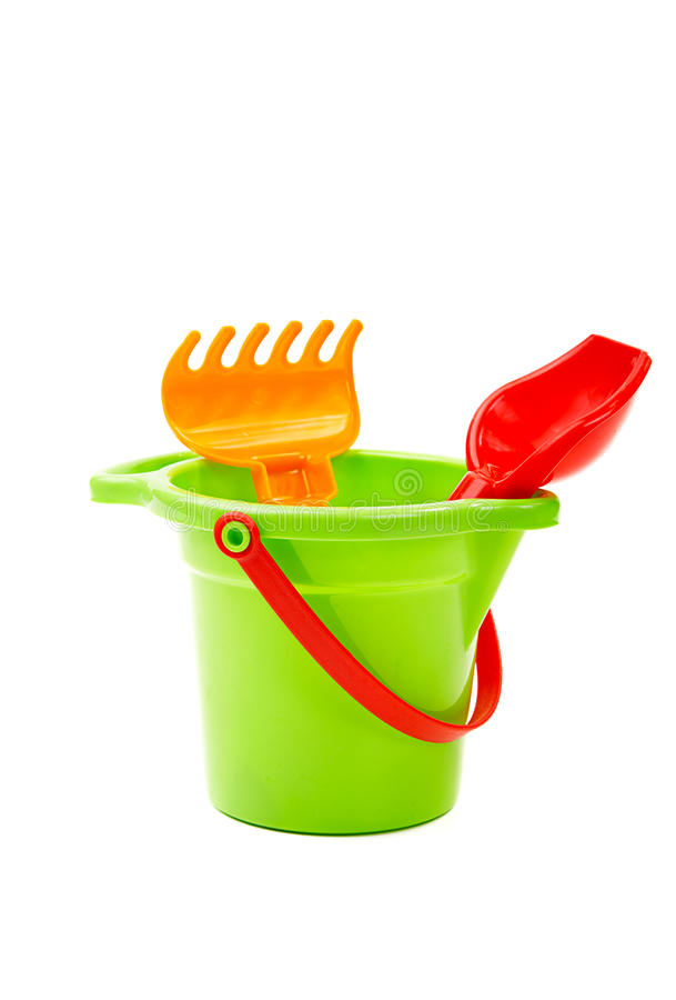 Download Children Toys  Bucket  Shovel And  Rake Stock Photo - Image of container, recreation: 26082658