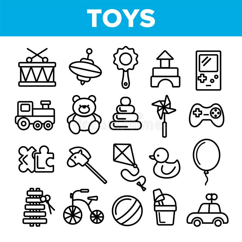 Children Toys Linear Vector Thin Icons Set vector illustration