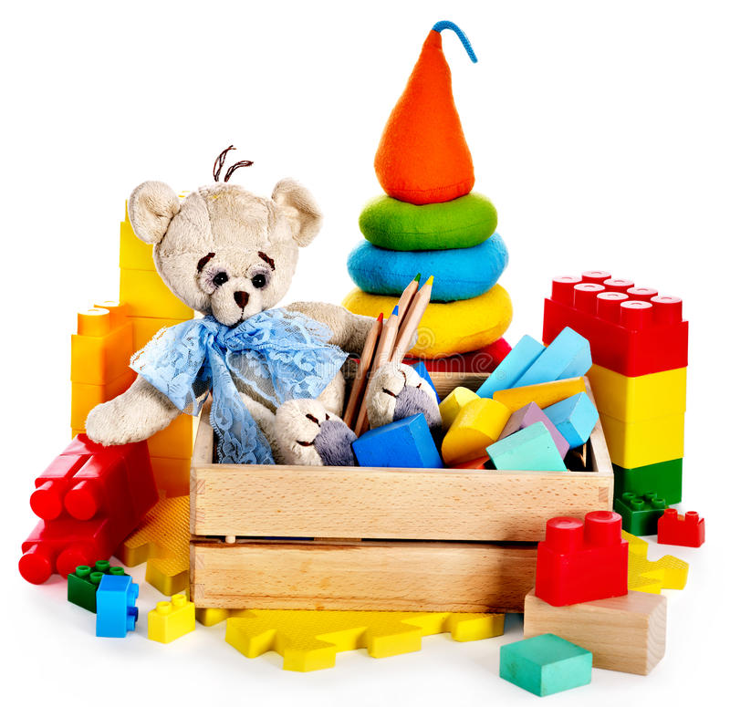 Download Children Toys With Teddy Bear And Cubes. Stock Image - Image: 34068503