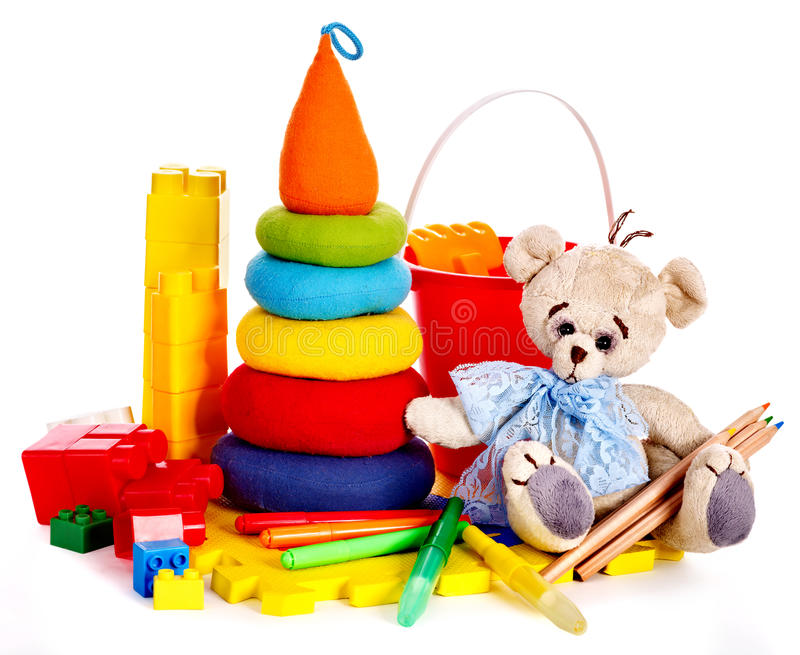 Children Toys With Teddy Bear. Stock Image