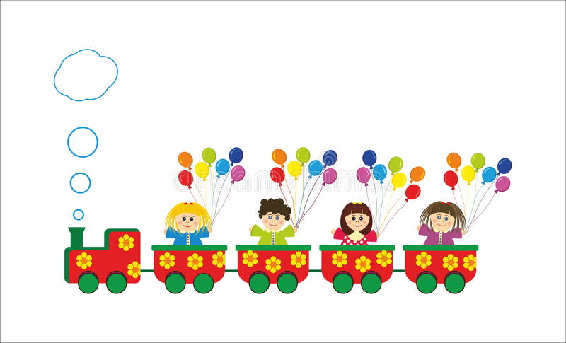 Children in train with colorful rainbow baloons stock illustration