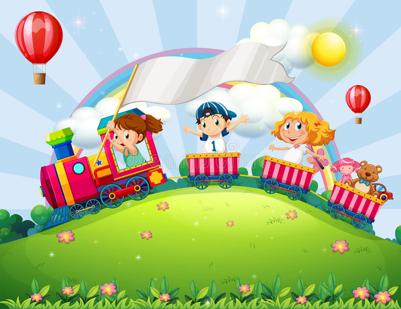 Children and train stock illustration