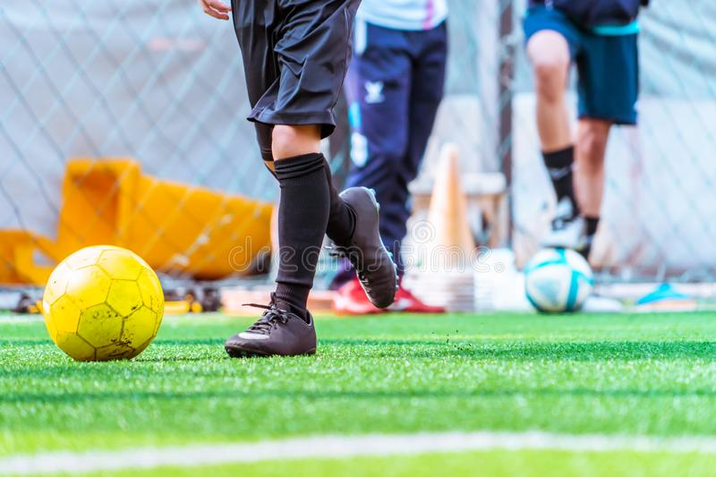 Children training and dibbling ball in soccer training royalty free stock photo