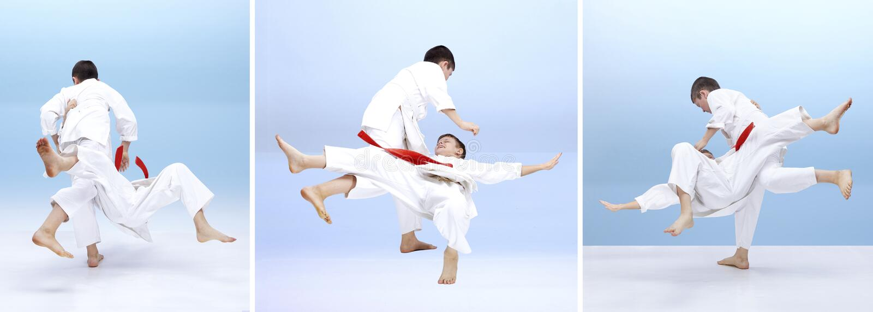 Children are training judo throws stock images