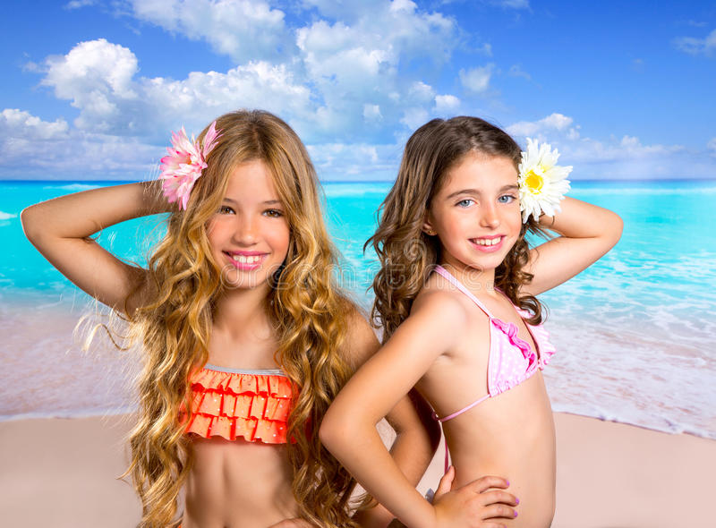 Download Children Two Friends Girls Happy In Tropical Beach Vacation Stock Photo - Image: 32317072
