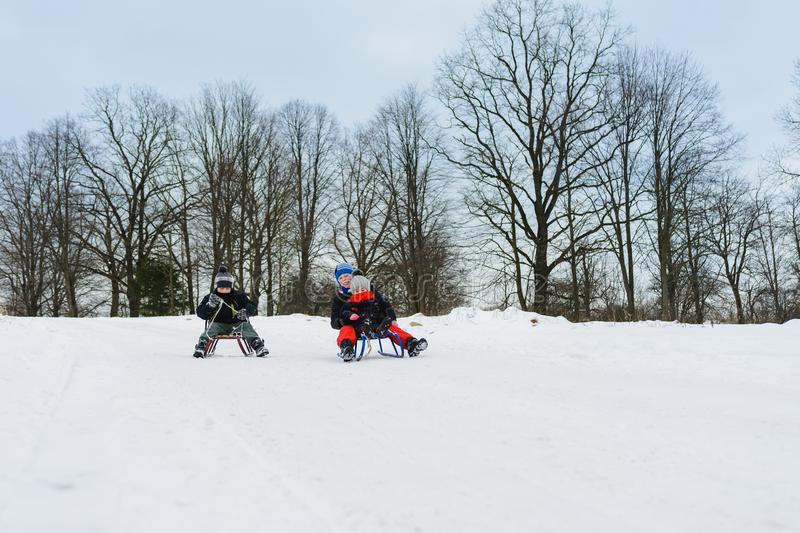 Children on two sledges descend from the hills stock photography