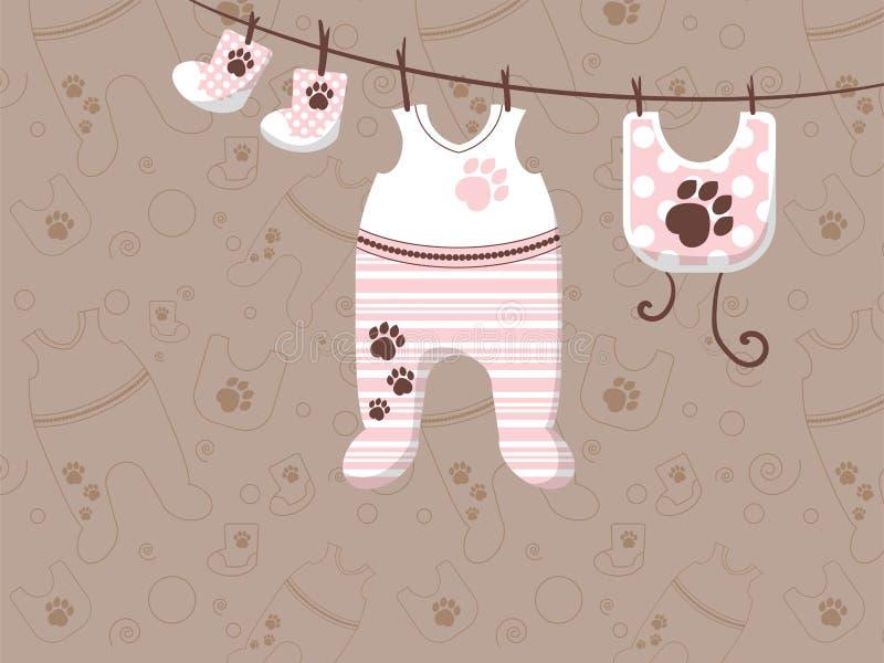 Children ubrania wieszają na arkanach Reklamowy sztandar dla przechuje ilustracja wektor