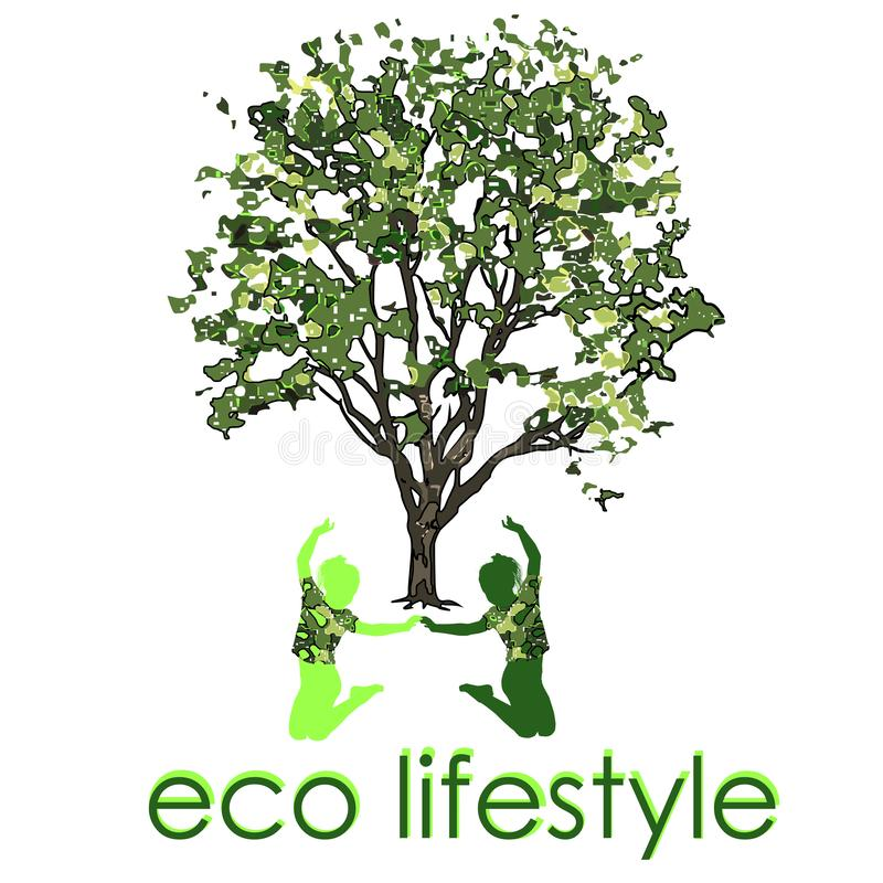 Children under an elm tree with leaves in the summer, Eco Lifestile vector illustration