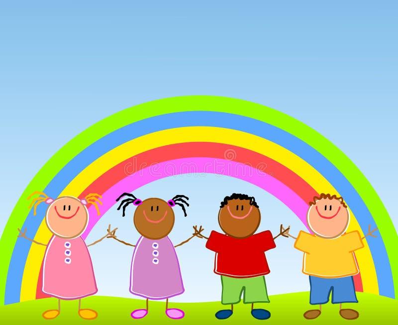 Children Under Rainbow vector illustration