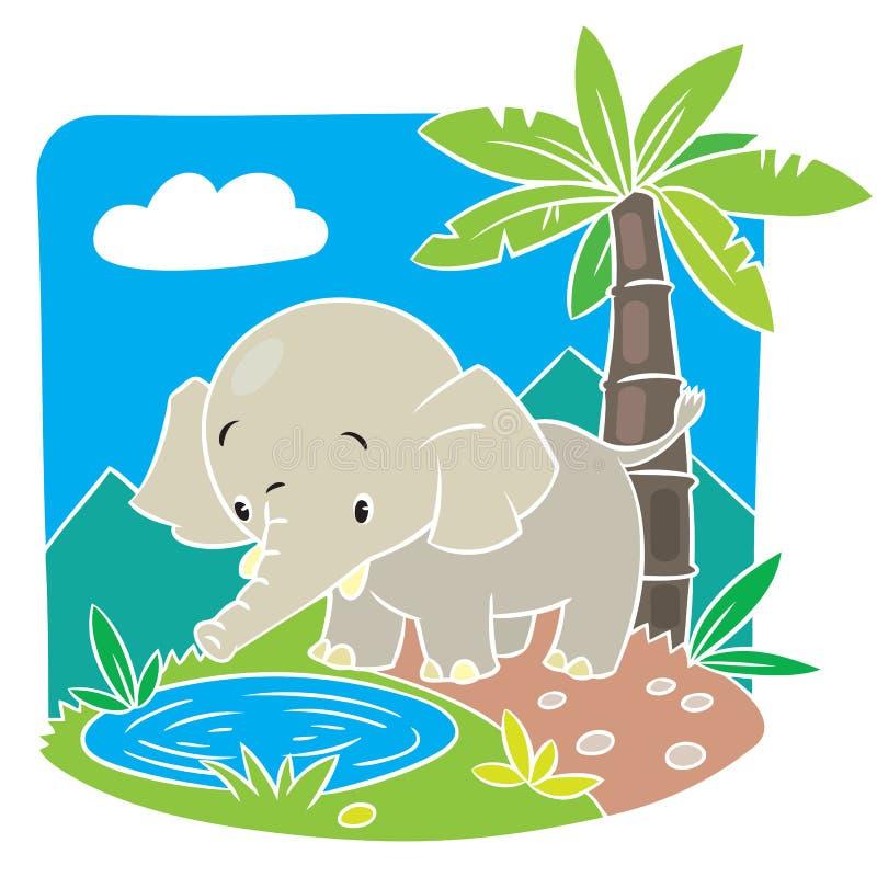 Children vector illustration of elephant. Children vector illustration of elephant on a green lawn stock illustration