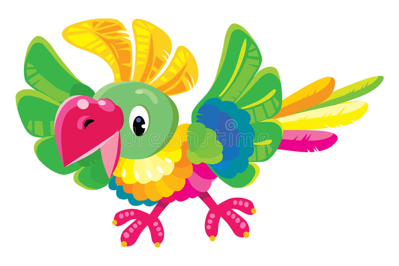 Children vector illustration of funny parrot vector illustration