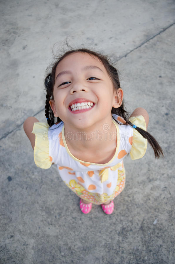 Children very happy and smiling. Close up little Asia girl very happy and smiling royalty free stock photo