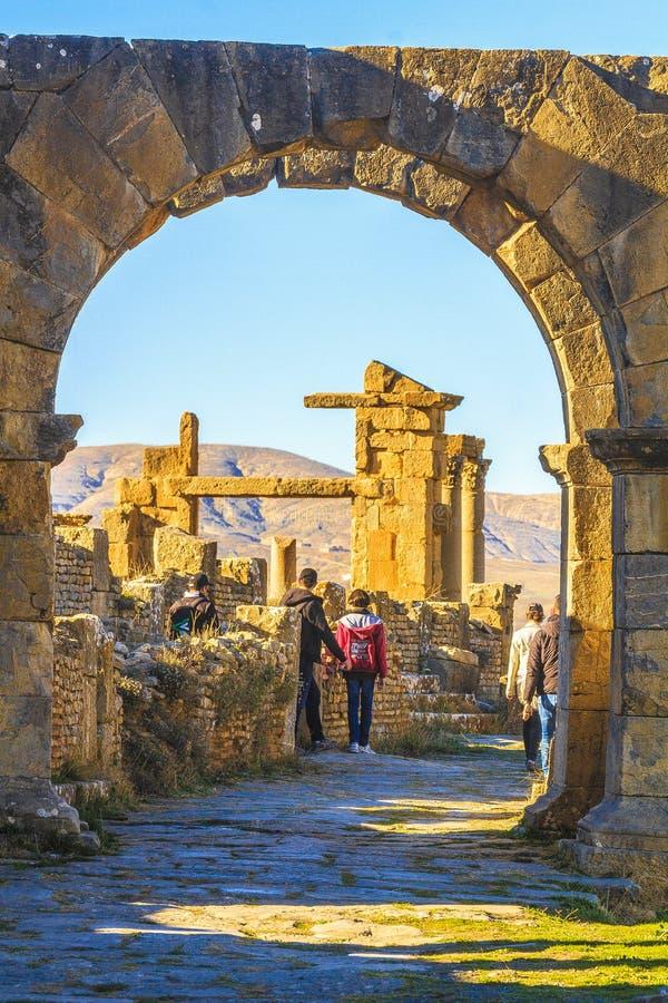 Kids in Djemila. Children visiting the Roman ruin in the Djemila city in Sétif county, Algeria stock images