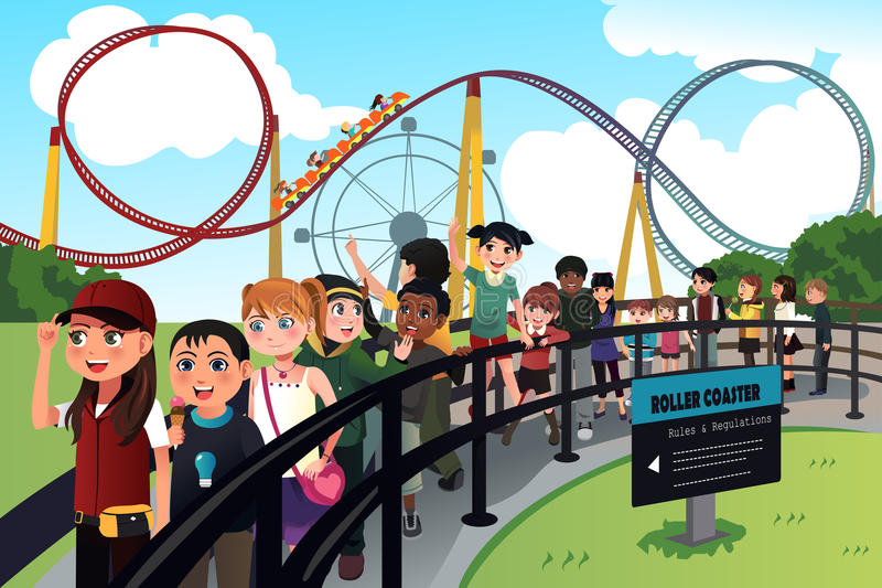 Children waiting in line for a roller coaster ride. A vector illustration of excited children waiting in line for a roller coaster ride royalty free illustration
