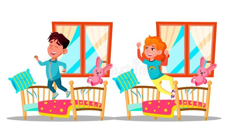 Children Waking Up Vector Cartoon Characters Set stock illustration