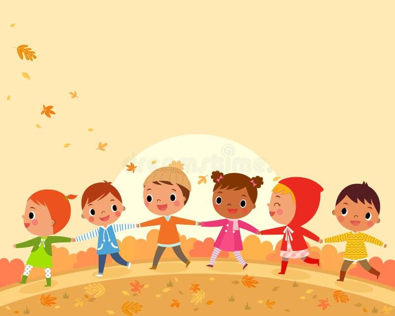 Children walk on a beautiful autumn day stock illustration