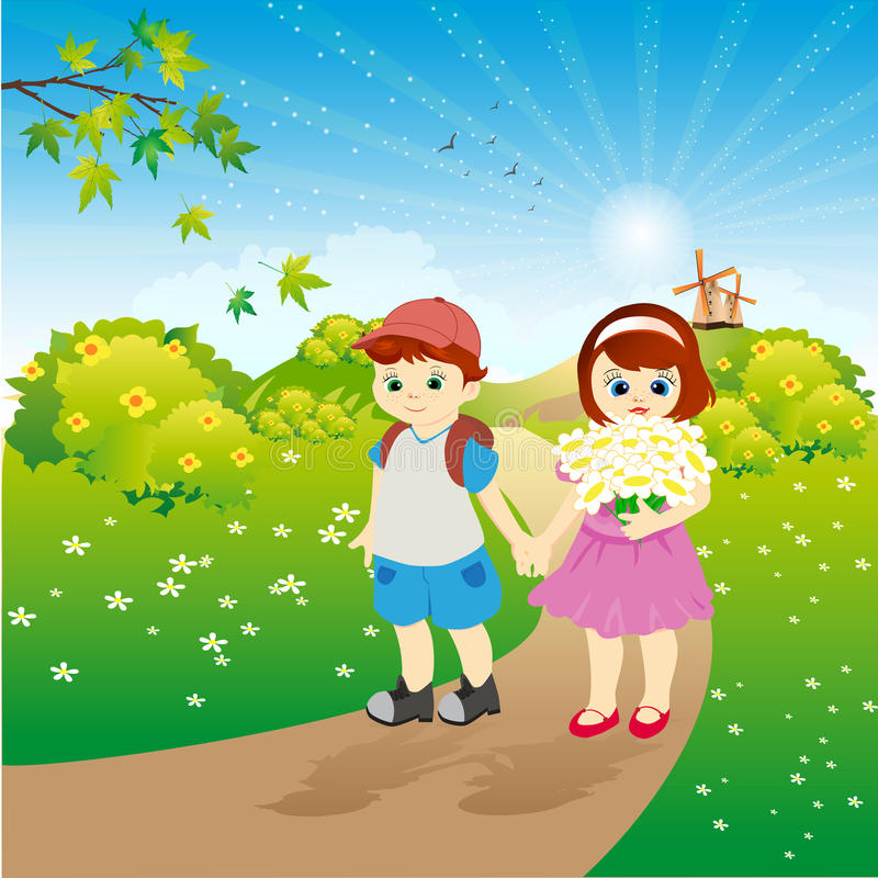 Children on walk in the summer