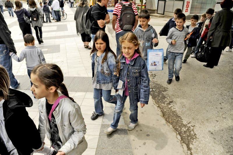 Children walking around in Bitola, Macedonia. BITOLA, MACEDONIA, MAY 19, 2011 People walking around in Bitola, Macedonia, on May 19th, 2011 royalty free stock images