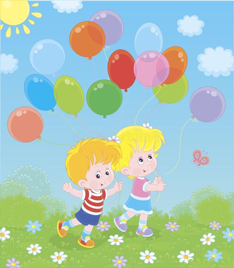 Children walking with colorful balloons vector illustration