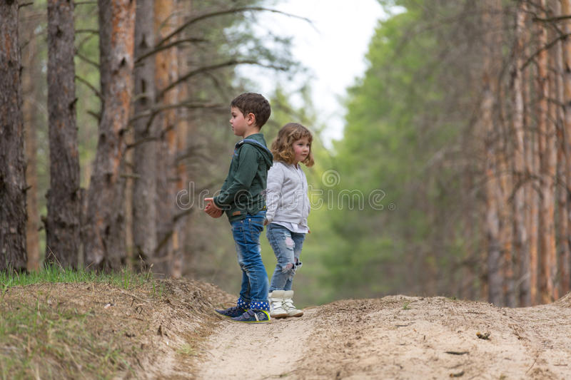 Children walking together stock photography