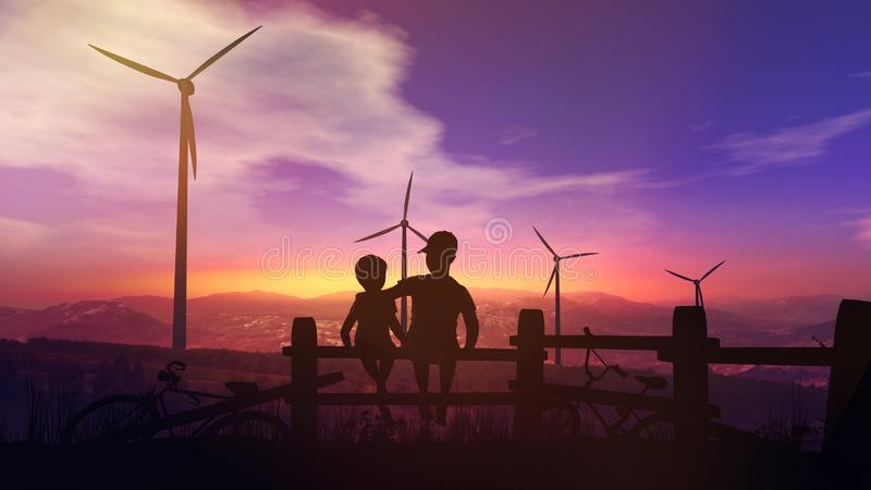 Children watch wind power stations at sunset royalty free stock photo