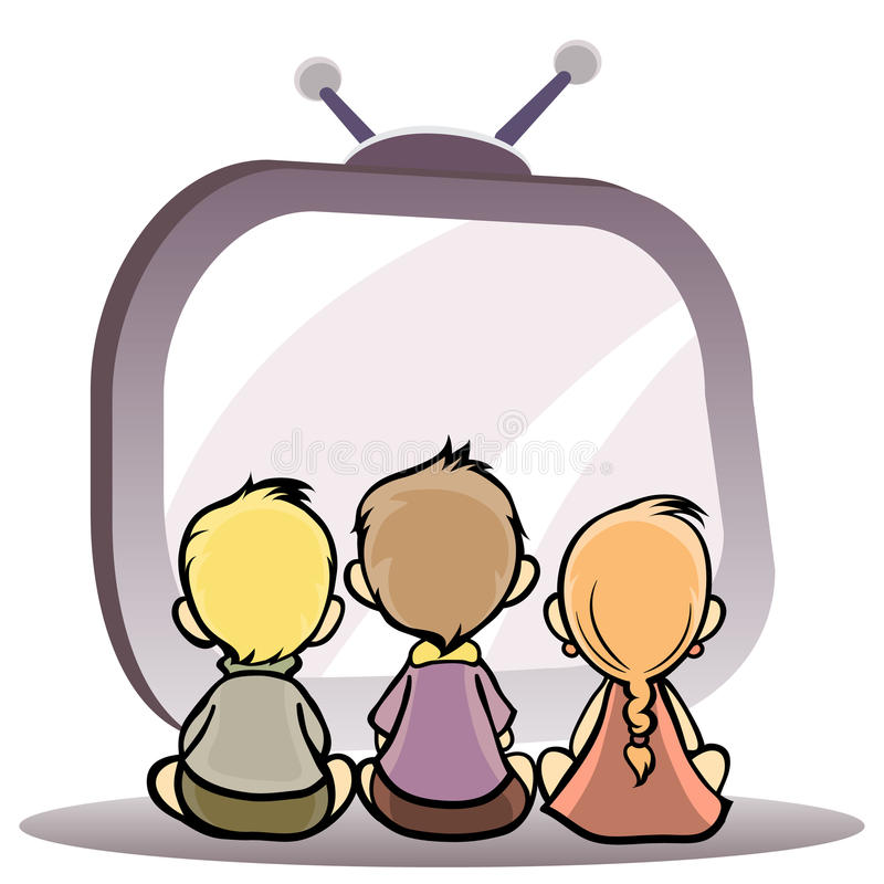 Children watching tv royalty free illustration