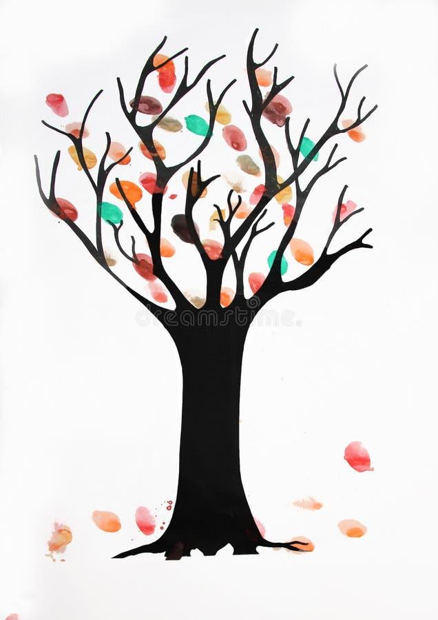 Children watercolor painting, autumnal tree with falling leaves. Children watercolor painting, autumnal tree with colorful falling leaves royalty free illustration