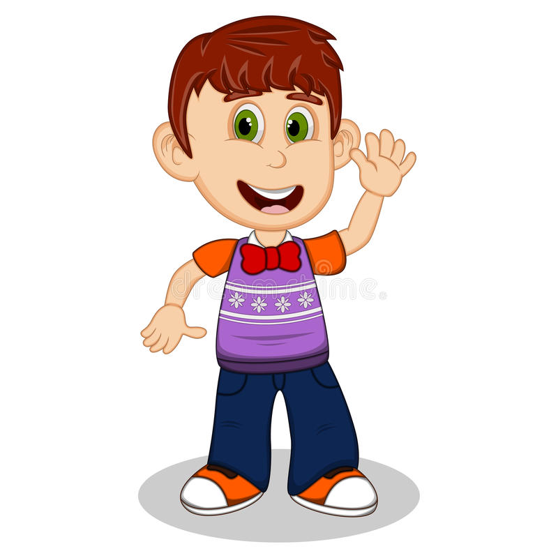 Children waving his hand wearing purple short sleeve sweater and black trousers cartoon. Full color stock illustration